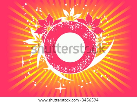 trendy vector floral design with room for text in the circle - stock vector