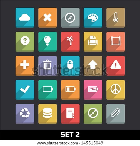 Trendy Vector Icons With Long Shadow Set 2 - stock vector