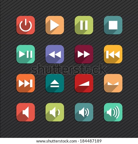 Trendy Vector Icons With Long Shadow Set 10