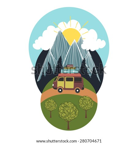 Trendy vector illustration with mountains, sun, forest, clouds and car. Travel concept - stock vector