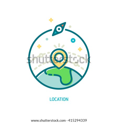 Trendy vector line location icon. Illustration of map pin on earth globe and compass symbol - stock vector
