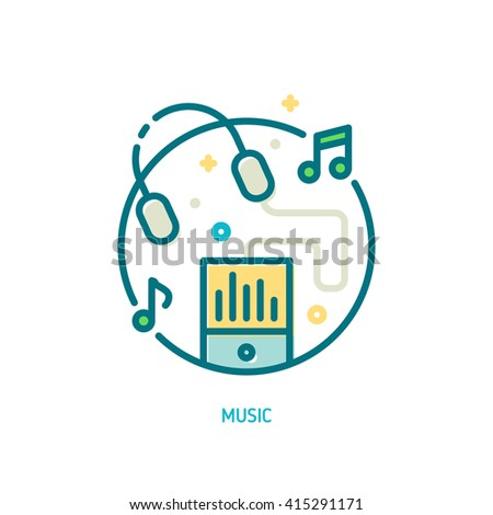 Trendy vector line music icon. Illustration of music player and flying headphones with music notes - stock vector