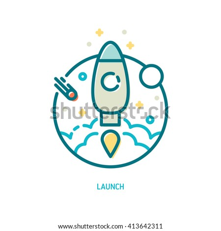Trendy vector line rocket in flight icon. Launch icon. Discover icon. Explore icon. - stock vector