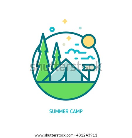 Trendy vector line summer camp icon. Vector illustration of camping tent, green trees, sun and clouds - stock vector