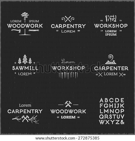 Trendy vintage woodwork logo set. Letterpress look. High quality vector design elements. - stock vector