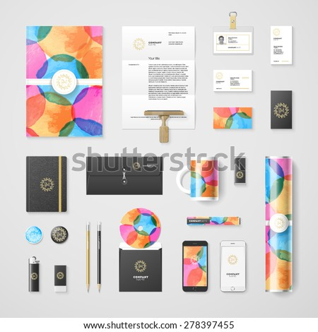 Trendy watercolor corporate identity template. High quality vector design element. Eps10 - stock vector