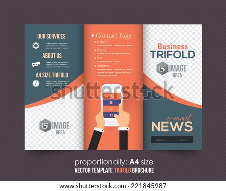 hp tri fold brochure template - trifold brochure catalog vector concept template stock