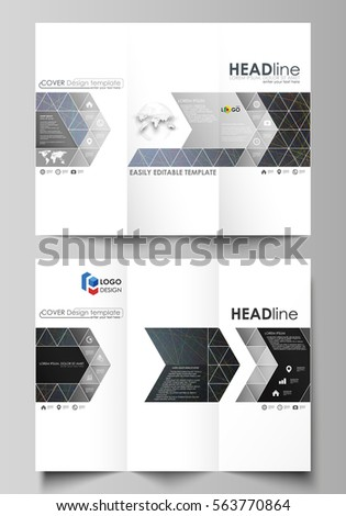 trifold brochure business templates on both stock vector 563770864