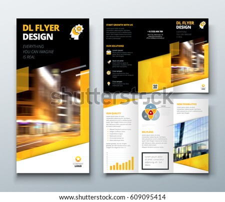 Tri fold brochure design black yellow stock vector for Black brochure template
