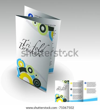 Tri-fold brochure design elemenr, vector illustartion. - stock vector