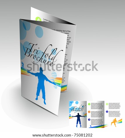 Tri-fold brochure design elemenr, vector illustartion. - stock vector