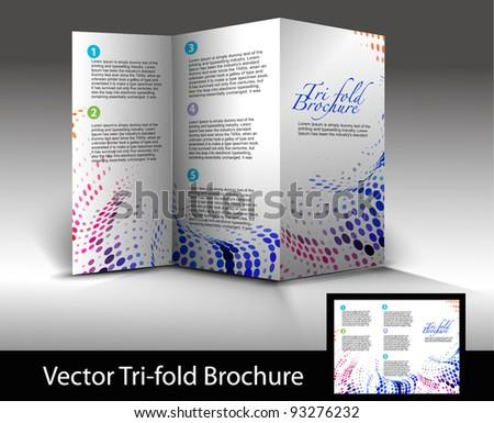 Tri-fold brochure design element, vector illustartion. - stock vector