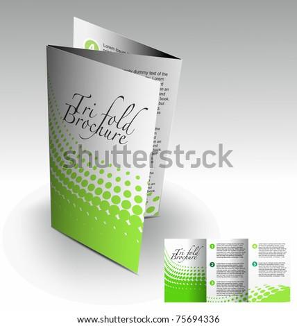 Tri-fold brochure design element, vector illustration. - stock vector