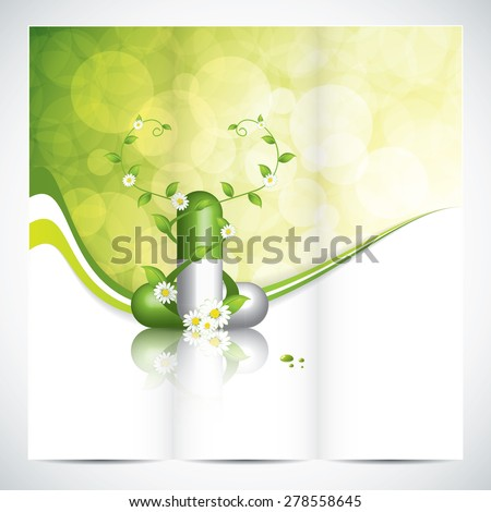 Tri-fold brochure design - Herbal pill vector - stock vector