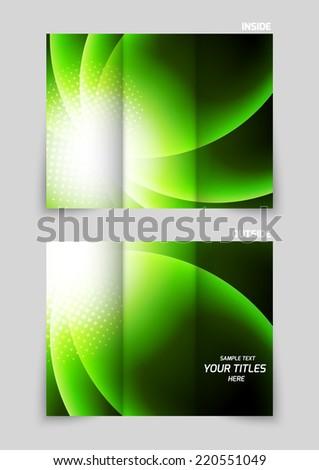 Tri-fold brochure template design in green color - stock vector