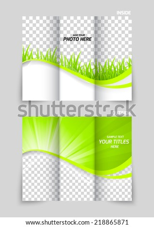 Tri-fold brochure template design in green color with grass - stock vector