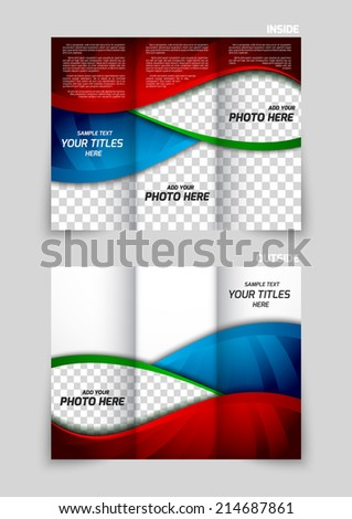 Tri-fold brochure template design in red blue color in wavy style - stock vector