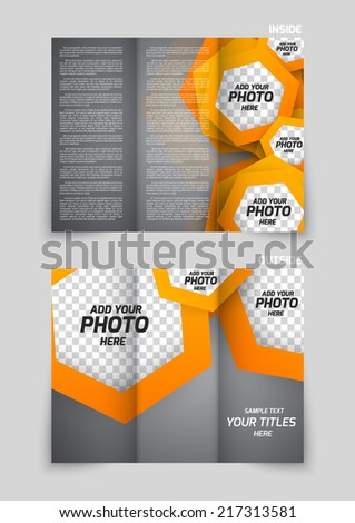Tri-fold brochure template design with orange hexagons