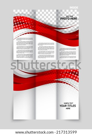 Tri-fold brochure template design with red wavy lines - stock vector