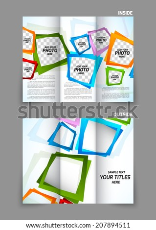 Tri-fold brochure template with colorful square color design - stock vector