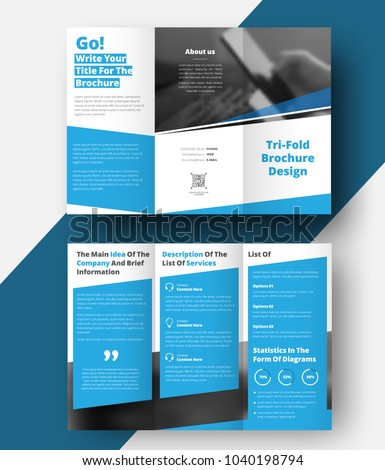 Trifold Brochure Diagonal Lines Place Photos Stock Vector 2018