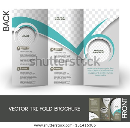Tri-Fold Corporate Business Store Mock up & Brochure Design - stock vector