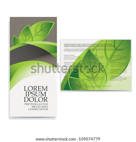 tri fold eco brochure template - stock vector