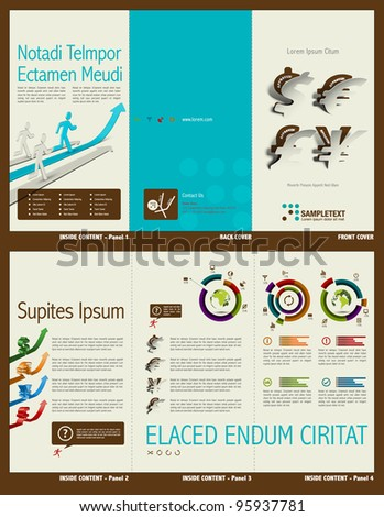 Tri-fold Financial Theme Brochure Layout with Info-graphic Design Template - stock vector