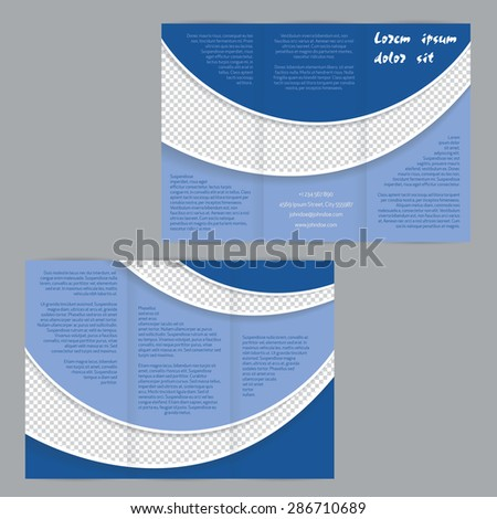 Tri-fold flyer brochure template design with blue waves and photo container - stock vector