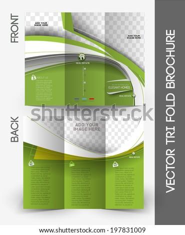 Tri-Fold Real Estate Agent Mock up & Brochure Design  - stock vector
