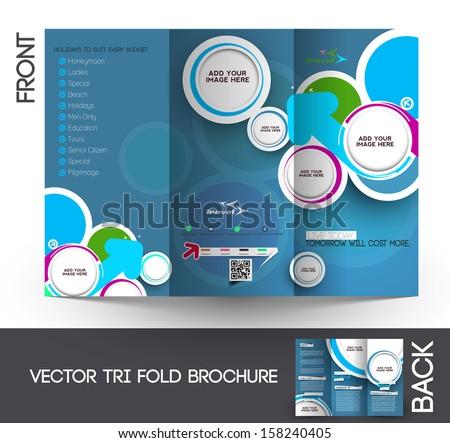 Tri-Fold Travel Mock up & Brochure Design  - stock vector