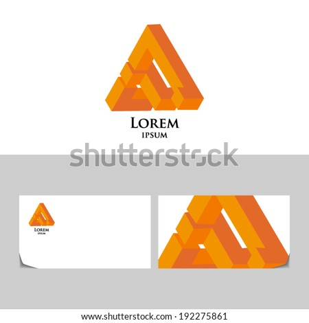 Triangle abstract impossible orange.Icon design element with business card template Corporate Stylish icon. - stock vector