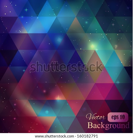 Triangle background with galaxy - stock vector