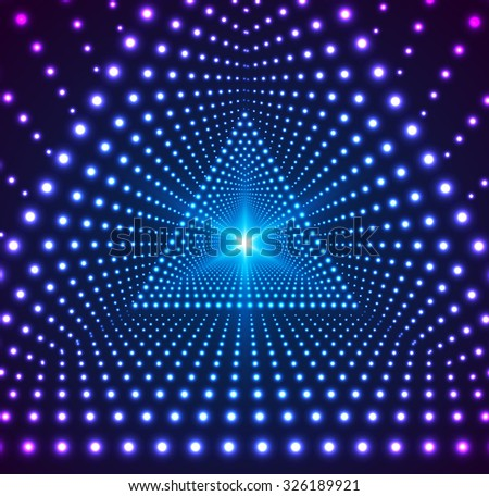 Triangle Border with Light Effects. Concept for party flyers, music posters and disco graphic design. Vector illustration. - stock vector