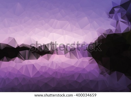 Triangle design of sunrise on the creek  - stock vector
