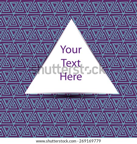 triangle emblem for your text on seamless pattern with many abstract triangles - stock vector