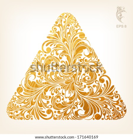 triangle geometric shape with filigree floral ornament in gold color, vector illustration - stock vector