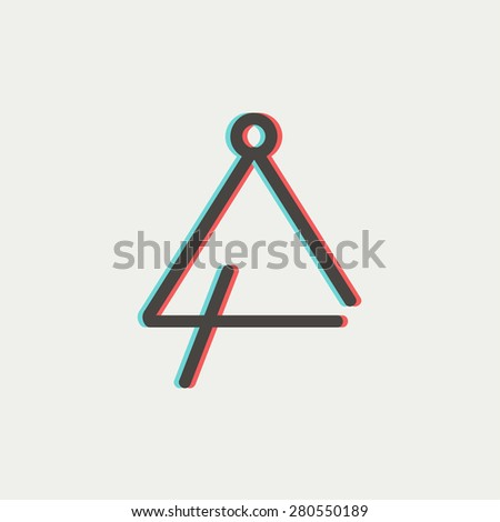 Triangle icon thin line for web and mobile, modern minimalistic flat design. Vector icon with dark grey outline and offset colour on light grey background. - stock vector