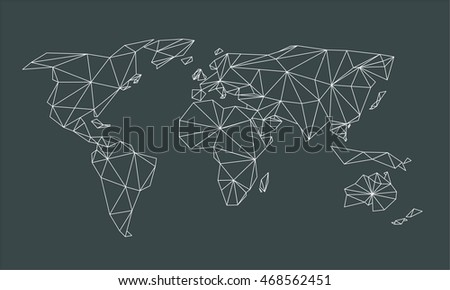 Triangle line world map vector net vectores en stock 468562451 triangle line world map vector net of white lines triangles on black background gumiabroncs Image collections