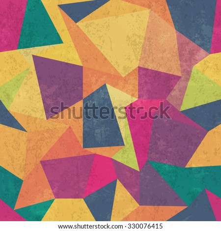 Triangle pattern. Colorful, grunge and seamless. Grunge effects can be easily removed. - stock vector