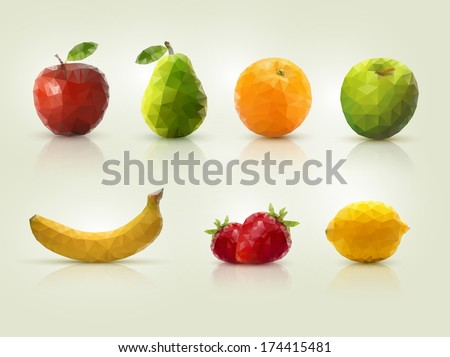 Triangle polygonal fruit illustrations. - stock vector