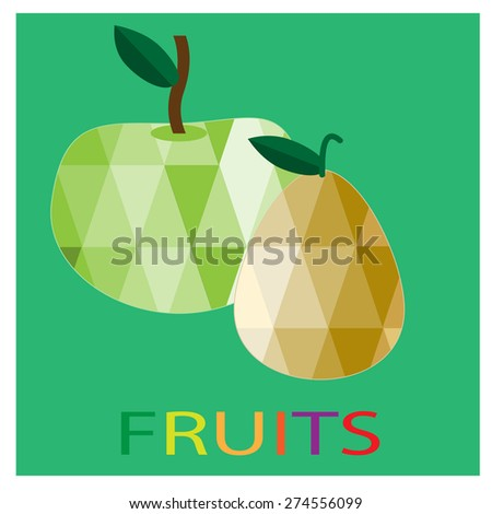 Triangle polygonal fruit illustrations