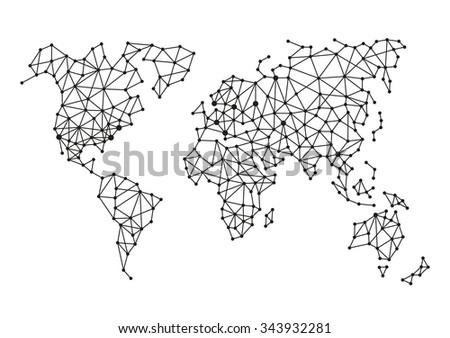 Triangle polygonal style world map on vector de stock343932281 triangle polygonal style world map on white background vector gumiabroncs Gallery