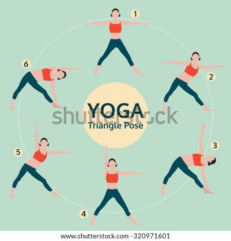 triangle pose, yoga set illustration, yoga exercise vector - stock vector
