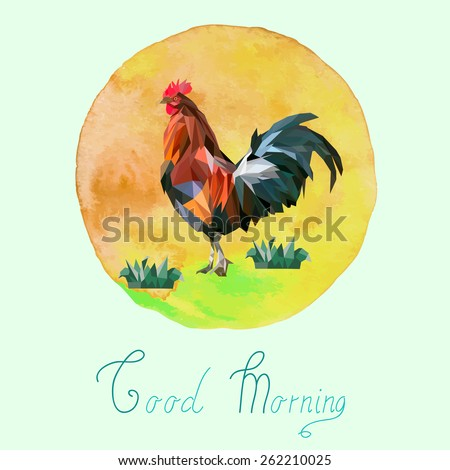triangle rooster and watercolor background - stock vector