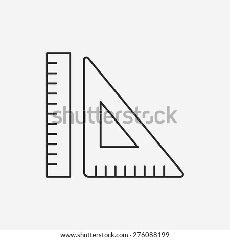 Triangle ruler line icon - stock vector