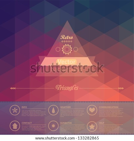 Triangle seamless background. Retro label design. Infographics composition with geometric shapes. Seamless pattern on the back is complete. Vector file has few layers for easy using. - stock vector