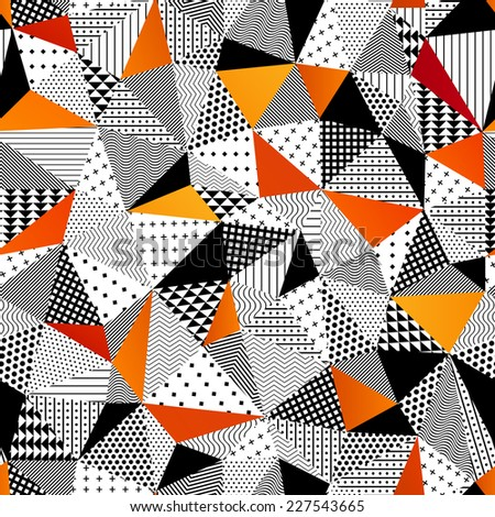 Triangle seamless pattern. Vector illustration. Contrasting fashionable polygonal backdrop with black and orange panes. Beautiful geometric design for various craft projects. - stock vector