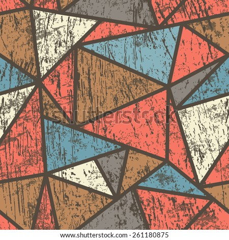 triangle seamless pattern with wood effect - stock vector