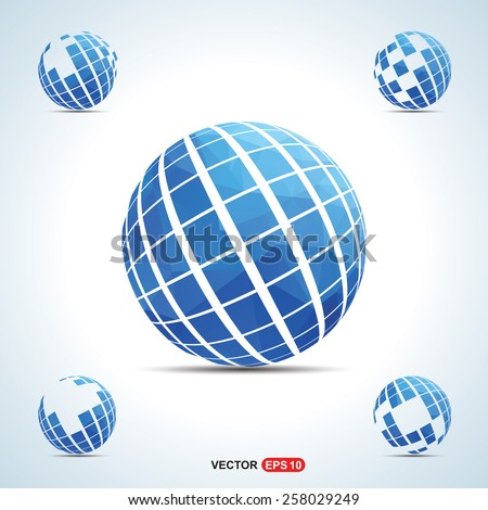 Triangle shape creative globe logo blue background for your text and logo | Globe logo design | world creative shape logo | Technology logo | corporate business logo design - vector illustration - stock vector